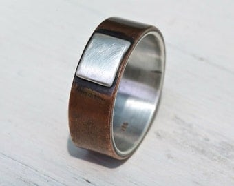Copper and silver band, engagement ring, rustic copper silver ring, unique wedding ring, copper ring, Hand made copper ring, Studioadama