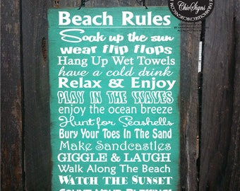 beach sign,  beach decor, Beach Rules Sign, beach house decor, beach house sign, rustic beach sign, 69