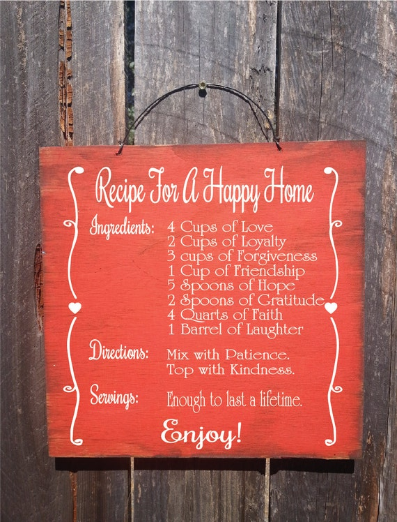 marriage, marriage gift, marriage sign, wedding gift, wedding sign, anniversary gift, anniversary sign, recipe for a happy home