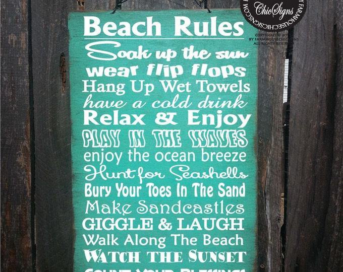 beach sign,  beach decor, Beach Rules Sign, beach house decor, beach house sign, rustic beach sign, 69
