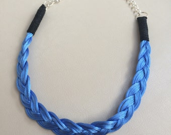 Handmade blue braided necklace