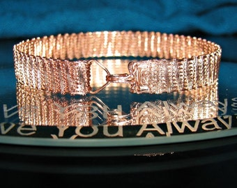 Bright Copper Wire Woven Tennis Bracelet, Copper Woven Bracelet, Wire Woven Jewelry