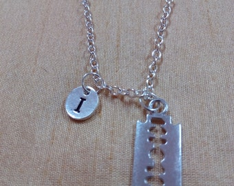 KIDS SIZE - Razor Blade Charm Necklace, charm Necklace, Razor blade Necklace, Carpenters Jewelry, Cutting Jewelry, Silver Blade Necklace
