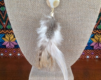 Leather, Feather, and Shell Boho Necklace