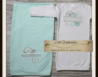 Mint Blessing Set- Take home outfit- new baby- personalized gown