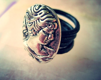 Cameo Leather Wrapped Ring