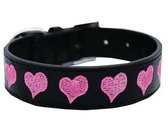 """Embroidered Dog Collar, """"Hearts"""""""