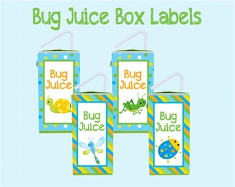 Bug Juice Juice Box Labels. Instant Digital Download. Fun for Bug Parties, Playdates, and Any Kid Who Loves Bugs!