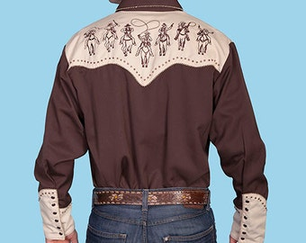 Scully Vintage Western Cowboy 2-tone Embroidered Snap Shirt