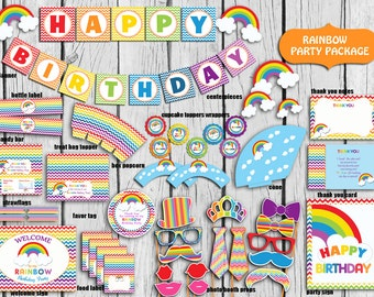 Rainbow Party Package,Instant DOWNLOAD Rainbow Birthday Party,Rainbow  Party Supplies, PRINTABLE DIY