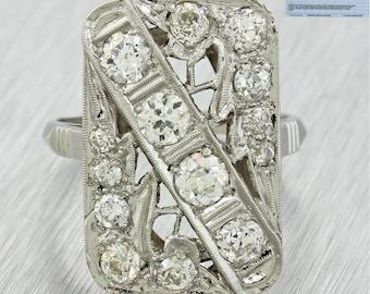 1920s Antique Art Deco Platinum 1.85ctw Diamond Cluster Filigree Engagement Ring
