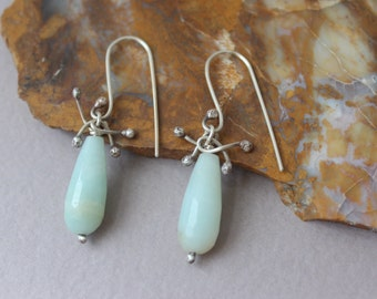 Pale Blue Amazonite Dangle Earrings, Boho Earrings, Amazonite Earrings, Blue Drop Earrings, Bohemian Earrings