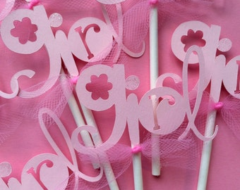 12 pink girl baby shower cupcake toppers, baby shower cupcake toppers, baby shower girl cupcake toppers, cupcake toppers for baby shower