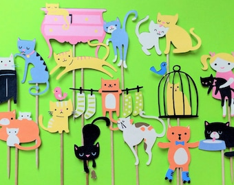 15 Cool Cat cupcake toppers, cat toppers, cat cake toppers, kitty toppers, kitty cupcake toppers, toppers cat, cake toppers cat, kitten