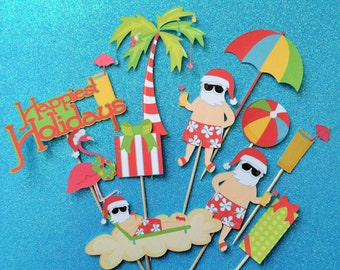 Santa cupcake toppers, 10 beach Santa cake toppers, warm weather Santa, Santa hat cupcake toppers, Santa Christmas party, Santa toppers