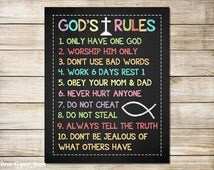 PRINTABLE ART Ten Commandments Christian Wall Art 10 Commandments Exodus 20 Little Boys Room Decor Bible