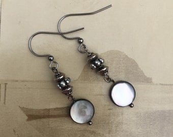 Aisling - Silver Mother of Pearl Button Earrings