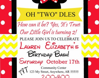 Minnie Mouse 2nd Birthday Invite