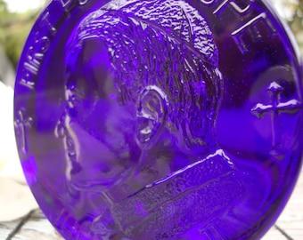 First Polish Pope John Paul II Cobalt Blue Glass Paperweight