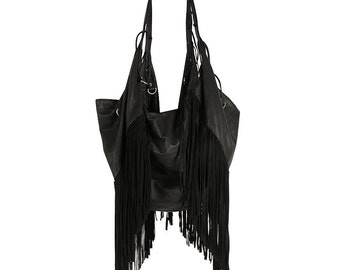 Leather Tote | Leather Purse | Fringe Bag | Tan Tassel Bag | Bohemian bag | Leather Backpack | Boho Bag