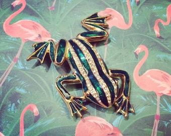 Frog Brooch Pin by Sardi Green Enamel