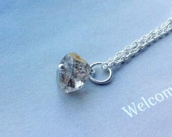Herkimer Diamond Necklace, Tourmalinated Herkimer Diamond Pendant, April  birthstone, Sterling Silver, Natural gemstone
