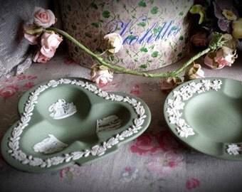 2 Beautiful  Vintage Wedgwood Green Ashtrays