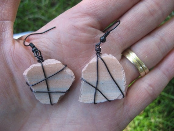 Pink and blue pottery shard dangle earrings