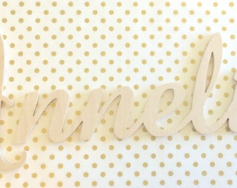 Wood Wall Letters, UNFINISHED connected name, name plaque, nursery decor, hanging wood letters