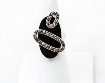 Sterling Silver, Onyx, and Marcasite Ring Size 6