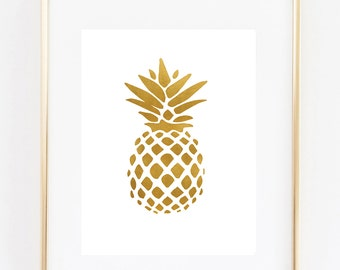 Gold Pineapple - Art Print - 8x10 inches