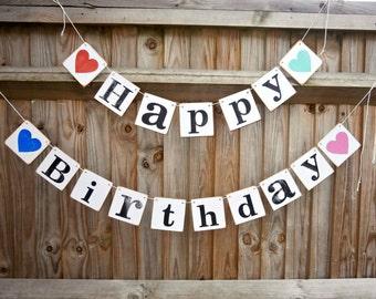 HAPPY BIRTHDAY / Birthday Banner/birthday bunting/birthday sign/birthday party decoration/birthday photoprop/unisex birthday party banner