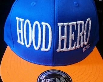 Blue and Orange Hood Hero Ent  Snapback