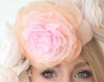 Paper flower crown hand-dyed to order. 3 large hand-dyed ombre paper roses, paper flower crown, paper roses