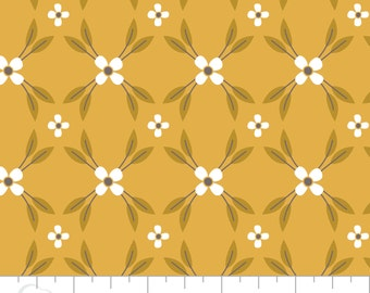 NEW PRICE! MAGNOLIA Floral Lattice in Light Mustard, Camelot Fabrics