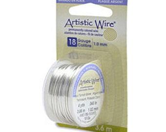 Artistic Wire 18ga 1.0mm Non Tarnish Silver Plated Wire 4yd