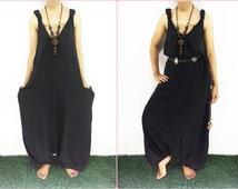 Harem Jumper Pants Rayon Black Hippie Jumpsuit Overalls Comfortable Hippie Thailand Maternity Casual Summer Colorful plus size Suspender