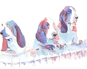 Bassett hound is a fine art giclee print of four dogs from an original watercolour. Animal art. Dog portraits. Colourful decorative print