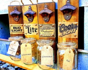 Groomsmen Gift, Gift, Boyfriend Gift,Rustic Beer Bottle Opener, Birthday gift ,Husband Gift, Anniversary gift , gift for dad