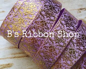 """7/8"""" Gold Foil Damask on Lavender USDR grosgrain ribbon"""