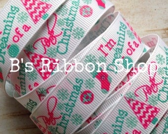 """7/8"""" Dreaming of a Pink Christmas with glitter USDR 1 yard grosgrain ribbon"""