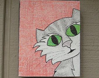 Cat Around Corner #1 Drawn Art