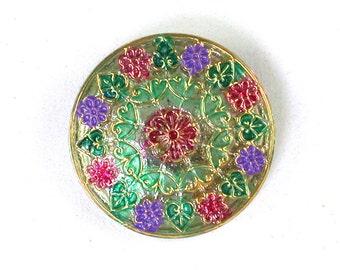 Gold Green Pink Purple UV active 32mm Czech glass button. One button.