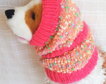 Colorful Dots Snood PINK / Hand Knit / Long Ear Covering / Cold Weather Snood/dog gift/3Sizes