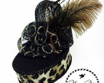 Black and Leopard Party Hat