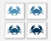 "Crab Digital Prints: ""BLUE CRABS"" Printable Art for Baby Nursery, Kids Room or Beach Wall Decor, Card"