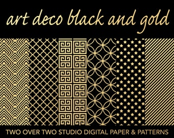 "Black and Gold Digital Paper: ""ART DECO"" Quatrefoil, Star, Greek Key, Interlocking Circle and Striped Backgrounds"