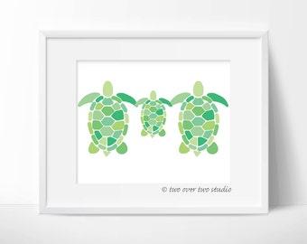 "Turtle Family Digital Print: ""TURTLE FAMILY"" Printable Art for Nursery, Kids Room, New Baby, Baby Shower Gift"
