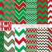 """Christmas Digital Paper: """"CHRISTMAS CHEVRON PAPER"""" in Red and Green for Holiday Scrapbooking, Invitations, Cards, Gift Tags and Wrap"""