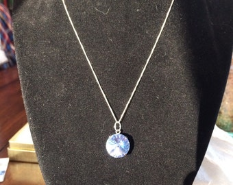 Sapphire Blue Swarovski Crystal Sterling Silver Necklace